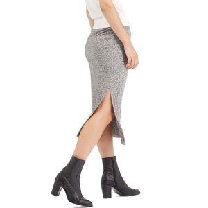 TOPSHOP • Gray Ribbed Tube Skirt + Side Slits